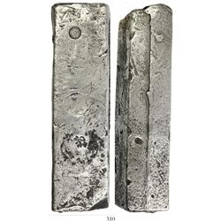 Neatly formed silver ingot from the Slot ter Hooge (1724), 1922 grams, about 98.5% fine, with stamps