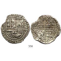 Potosi, Bolivia, cob 8 reales, Philip III, assayer R (curved-leg), rare provenance.