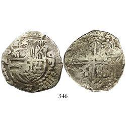 Potosi, Bolivia, cob 8 reales, Philip III, assayer R (curved leg), Grade 1, with original tag but ce
