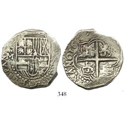 Potosi, Bolivia, cob 8 reales, 1617M, castles rotated 90 degrees clockwise, choice Grade 1, ex-Bir.