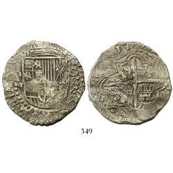 Potosi, Bolivia, cob 8 reales, 1617M, denomination as O-III-V (rare), Grade 1.