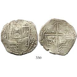 Potosi, Bolivia, cob 8 reales, (1)617M (date at 8 o'clock), denomination as O-V-III (rare), Grade 1.