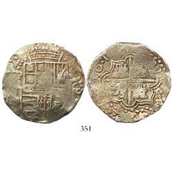 Potosi, Bolivia, cob 8 reales, 16(17)M, Grade 1.