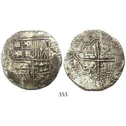 Potosi, Bolivia, cob 8 reales, 1618PAL, Grade 1, rare.