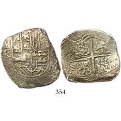 Potosi, Bolivia, cob 8 reales, Philip III, (1)61(8)T/PAL, rare, Grade-1 quality but Grade 2 on certi