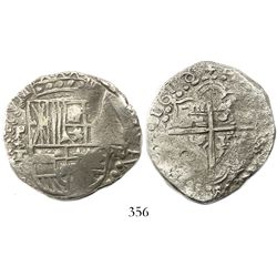 Potosi, Bolivia, cob 8 reales, 1618T, upper half of shield transposed, Grade-2 quality but no Grade