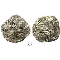 "Potosi, Bolivia, cob 8 reales, ""16221"" date (1621), assayer T, quadrants of cross transposed, Grade"