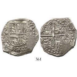 Potosi, Bolivia, cob 8 reales, Philip III, assayer T, backwards mintmark, Grade 1.