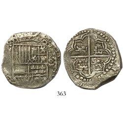 Potosí, Bolivia, cob 8 reales, Philip III, assayer not visible, upper half of shield and quadrants o