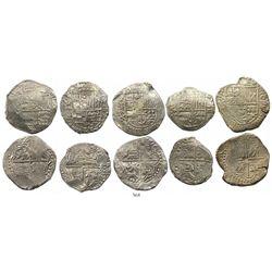 Lot of 5 Potosi, Bolivia, cob 8 reales, Philip III, assayers Q, M, T or not visible, most Grade-1 qu