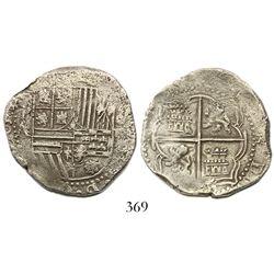 Potosi, Bolivia, cob 4 reales, Philip II, assayer A/A/B (rare), Grade 1, Research Collection Plate C