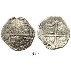 Potosi, Bolivia, cob 2 reales, Philip III, assayer Q, Grade-1 quality, with original tag but certifi
