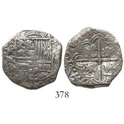 Potosi, Bolivia, cob 2 reales, 1617M/C (unique over-assayer), Grade 1.