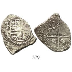Potosi, Bolivia, cob 2 reales, 1617M, choice Grade 1, original tag and certificate missing.