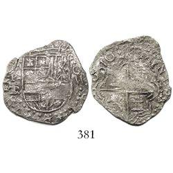 Potosi, Bolivia, cob 2 reales, 16(18)T/PL, denomination o-\\, Grade 2, very rare.