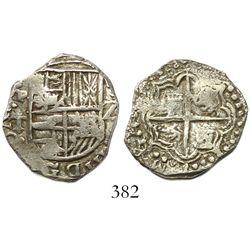 Potosí, Bolivia, cob 2 reales, Philip III, assayer T, backwards G in legend, Grade 1.