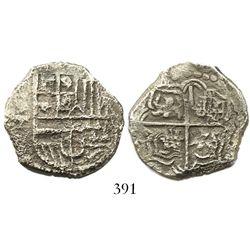 Potosi, Bolivia, cob 4 reales, Philip III, assayer T, quadrants of cross transposed, Grade 2.