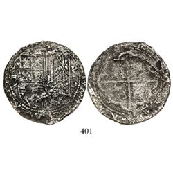 Lima, Peru, cob 8 reales, Philip II, assayer Diego de la Torre, *-8 (round top) to left, P-oD to rig