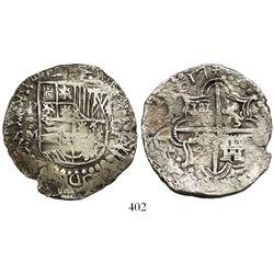 Potosi, Bolivia, cob 8 reales, 1617M, encapsulated NGC shipwreck effect.