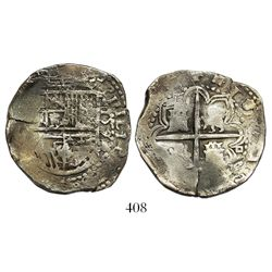 Seville, Spain, cob 4 reales, 1590/89 date to right of shield, assayer Gothic D at 4 o'clock outside