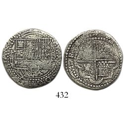 Lima, Peru, 2 reales, Philip II, assayer Diego de la Torre, P-ii to left, oD-* to right, rare as fro
