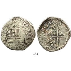 Potosi, Bolivia, cob 8 reales, 1649O, with crowned-L countermark on cross, ex-Ponterio.