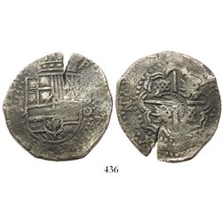 Potosí, Bolivia, cob 8 reales, (1650)O, with crown alone countermark (very rare) on cross side, ex-H