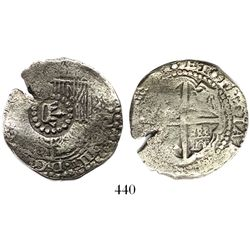 Potosi, Bolivia, cob 4 reales, (165)1E, crown-alone countermark on shield.