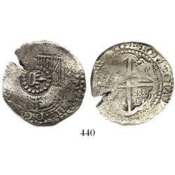 Potosi, Bolivia, cob 4 reales, (165)1E, crown-alone countermark on shield.