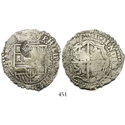 Potosi, Bolivia, cob 8 reales, (165)1O, with crowned-dot-F-dot countermark on shield.