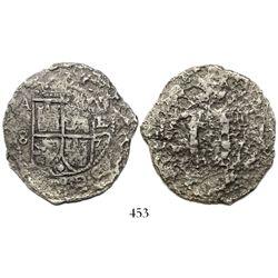 Potosi, Bolivia, cob 8 reales, 1652E Transitional Type V(?).