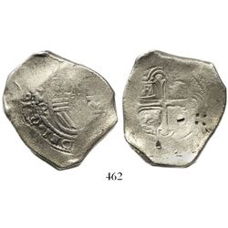 Mexico City, Mexico, cob 8 reales, Philip IV, assayer P, with countermark and punchmarks as from cir