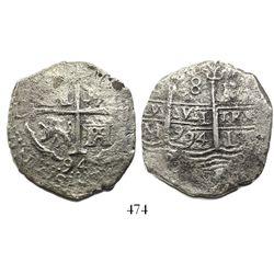 Lima, Peru, cob 8 reales, 1694M, ex-Mastalir.