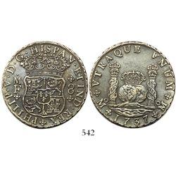 Mexico City, Mexico, pillar 8 reales, Philip V, 1737MF.