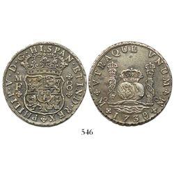 Mexico City, Mexico, pillar 8 reales, Philip V, 1739/6MF, very rare.