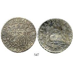 Mexico City, Mexico, pillar 8 reales, Philip V, 1739/8MF, rare.