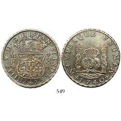 Mexico City, Mexico, pillar 8 reales, Philip V, 1740MF with 4/3.
