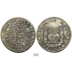 Mexico City, Mexico, pillar 8 reales, Philip V, 1741MF with 4/3, rare.