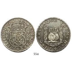 Mexico City, Mexico, pillar 8 reales, Philip V, 1742/2MF, very wide date.