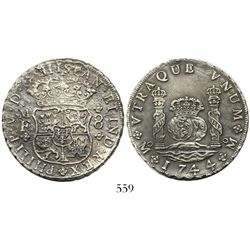 Mexico City, Mexico, pillar 8 reales, Philip V, 1744MF with the first 4/3, very rare.