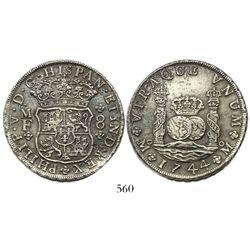 Mexico City, Mexico, pillar 8 reales, Philip V, 1744MF, narrow date.