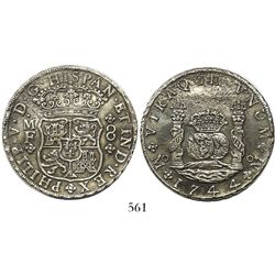 Mexico City, Mexico, pillar 8 reales, Philip V, 1744MF, wide date.