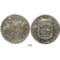 Mexico City, Mexico, pillar 8 reales, Philip V, 1744MF, wide date.
