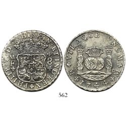 Mexico City, Mexico, pillar 8 reales, Philip V, 1744MF, normal date.