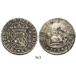 Mexico City, Mexico, pillar 4 reales, Philip V, 1734MF, 3/3 in date, rare.