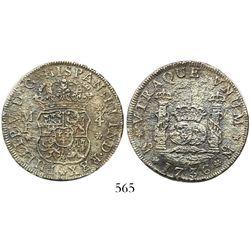 Mexico City, Mexico, pillar 4 reales, Philip V, 1736MF, narrow date.
