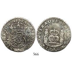 Mexico City, Mexico, pillar 4 reales, Philip V, 1736MF, wide date.