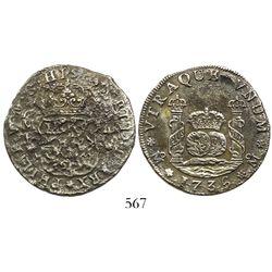 Mexico City, Mexico, pillar 4 reales, Philip V, 1736MF, normal date.