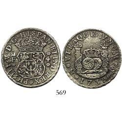 Mexico City, Mexico, pillar 4 reales, Philip V, 1739MF.