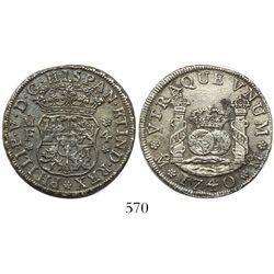 Mexico City, Mexico, pillar 4 reales, Philip V, 1740MF with 4/3, rare.